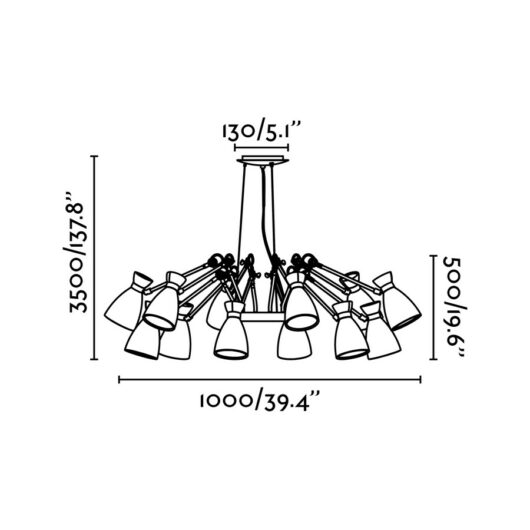 Retro Negru si Cupru Pend Lamp 12L 12 X E14 Max 2