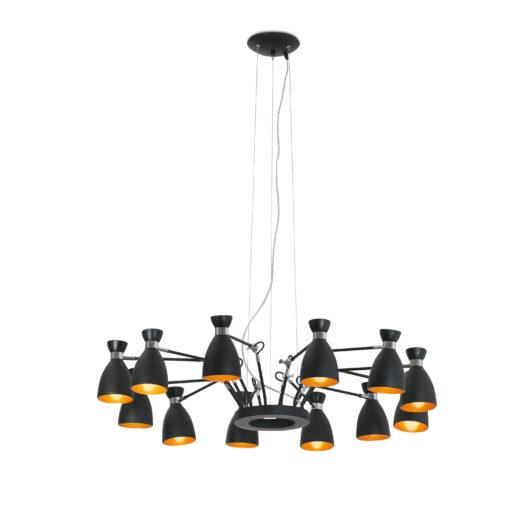 Retro Negru si Cupru Pend Lamp 12L 12 X E14 Max 1