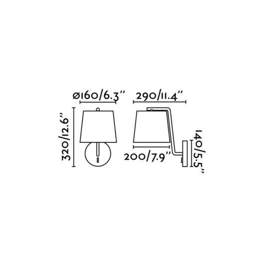 Berni Negru Lampa de perete 1 X E27 20W 2