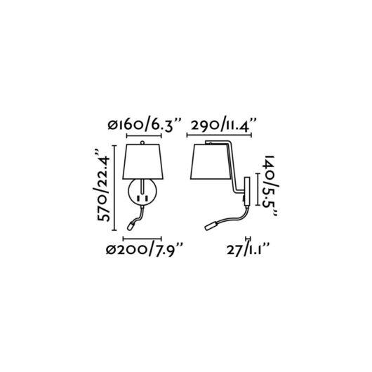 Berni Negru Lampa de perete With Led Reader 1Xe27 20W Le 2