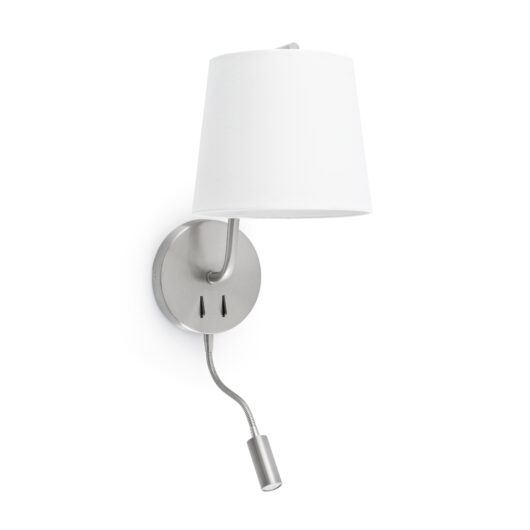 Berni Satin Nickel Lampa de perete With Led Reader 1Xe27 1