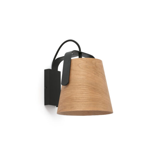 Stood Negru Lampa de perete + Wood E27 Max 20W 1