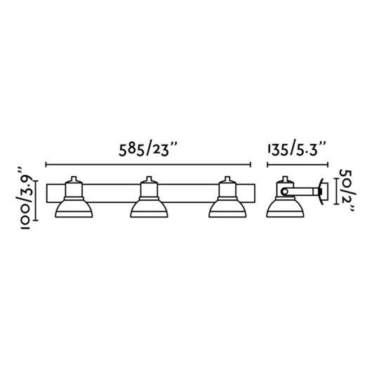 Ring-3 Gri Lampa de perete 3 X GU10 Led 8W 2
