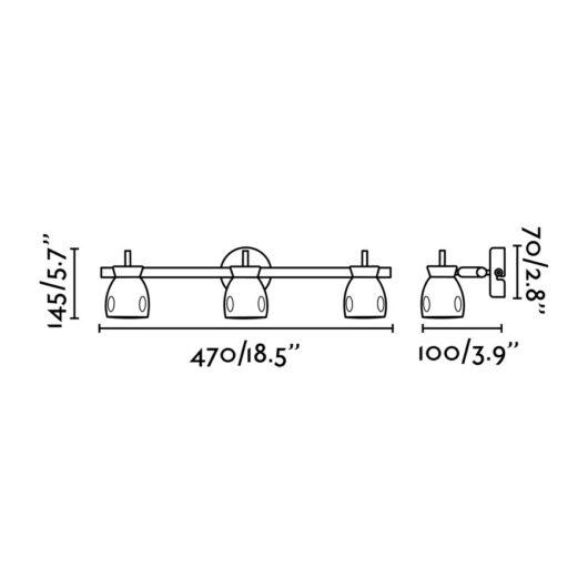 Mika Negru Lampa de perete 3 X GU10 50W 2