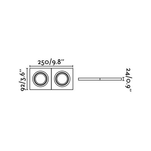 Radón-2 Adjust Alb Recessed Lamp Square 2XGU10 2