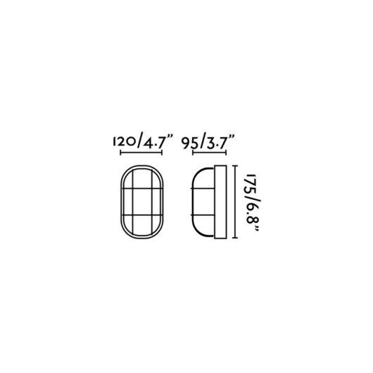 Ovalo-N Negru Lampa de perete Closed 18 1 X E27 60W 2