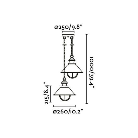 Nautica Rust Pendant 2 X E27 12W 2