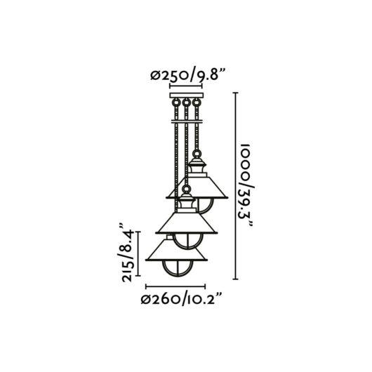 Nautica Rust Pendant 3 X E27 11W 2