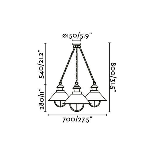 Nautica Rust Pendant 3 X E27 12W 2