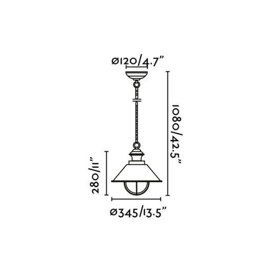 Nautica-1G Rust Pendant 1 X E27 12W 2