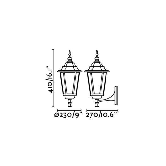 Paris Negru Lampa de perete 1 X E27 20W 2