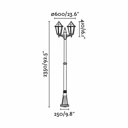 Paris Negru Pole Lamp 2 X E27 20W 2