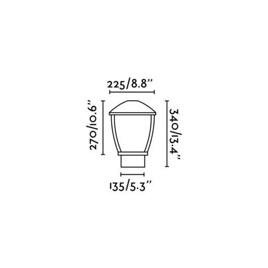 Wilma Dark Gri Post Lamp 1 X E27 100W 2